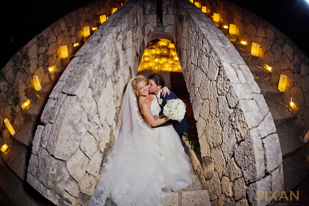 just married Xcaret with candles