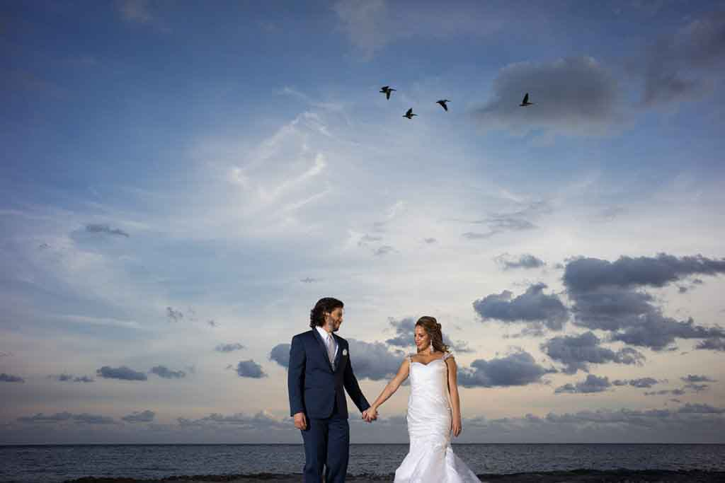 beach wedding photo, holding hands with birds at sunset