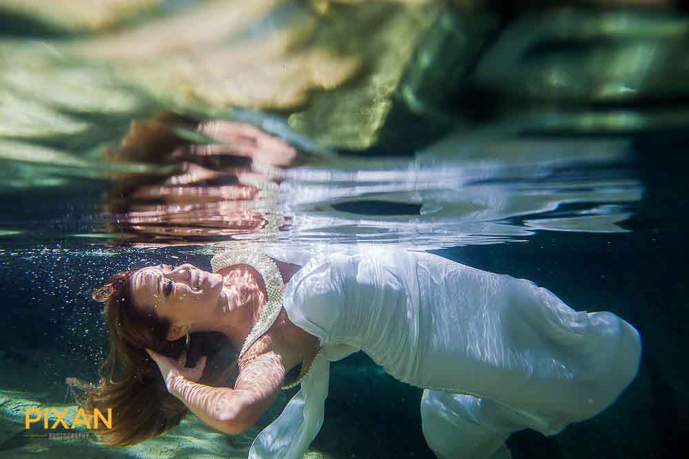 underwater wedding bride with reflection