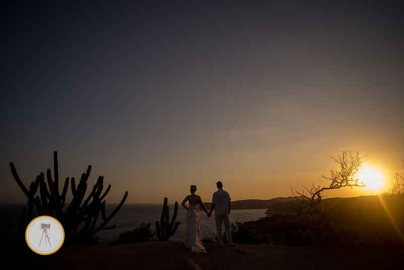 Beach wedding sunset Mexico