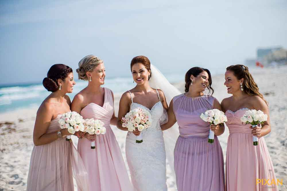 Mixed color bridesmaid gowns for summer wedding