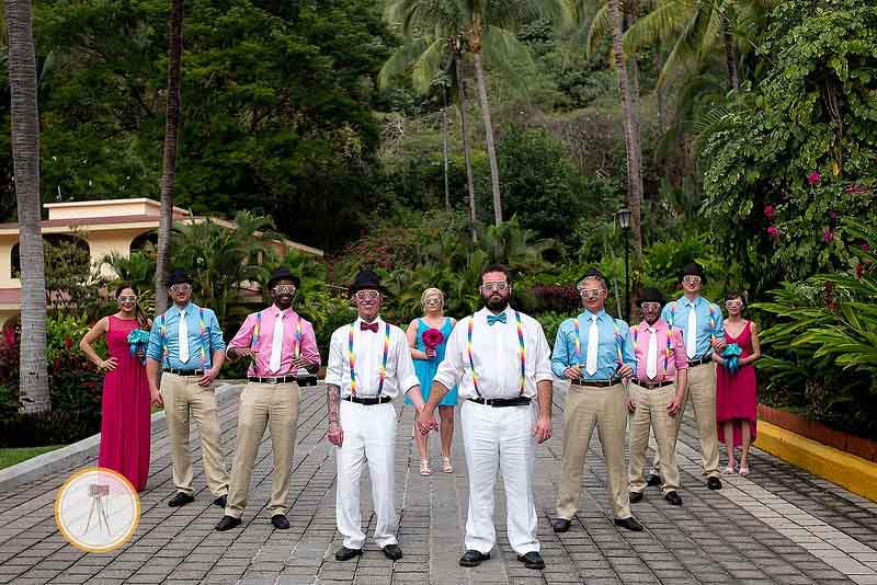Bright color scheme for gay destination wedding in Mexico