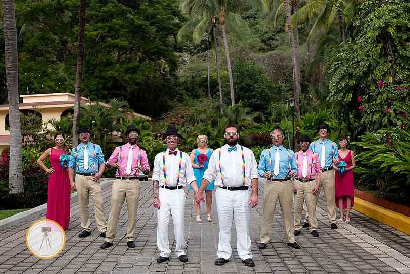 Bright color scheme for gay destination wedding in Mexico
