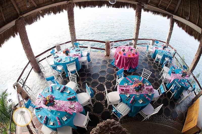 Bright, bold color palette for destination wedding