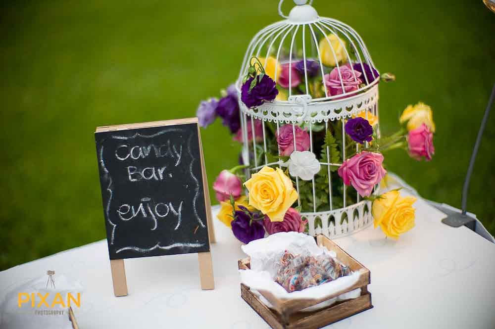 Summer wedding candy bar and favors
