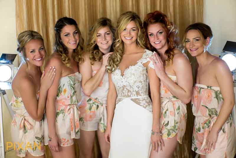 Bridesmaid matching floral outfits