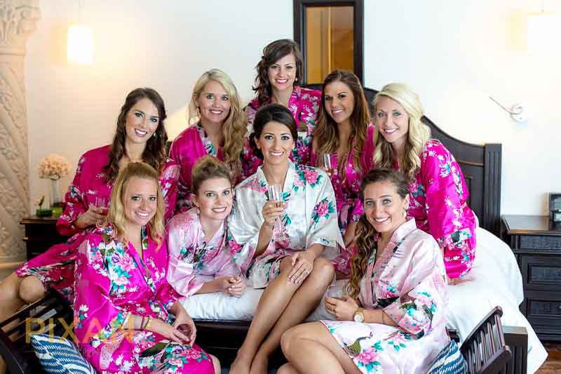 Matching floral robes for bridesmaids