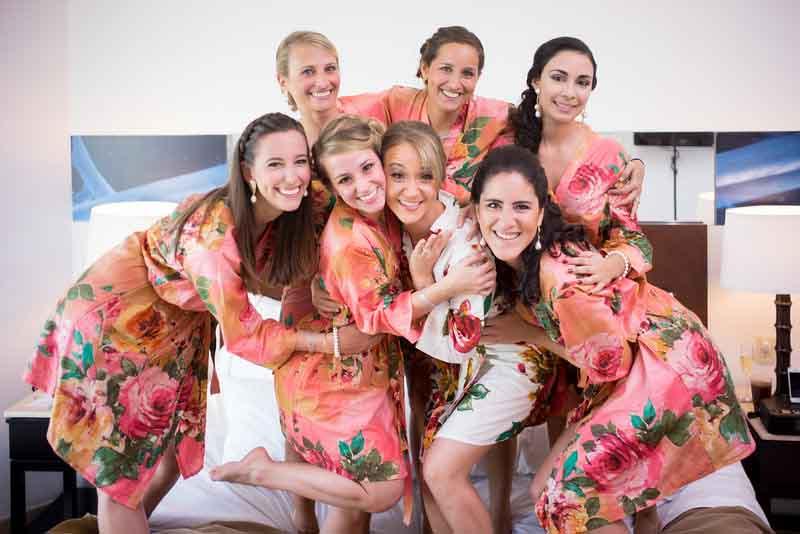 Summer flower bridesmaid robes for destination wedding