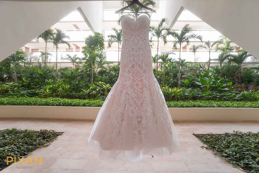 Pink and lace bridal gown