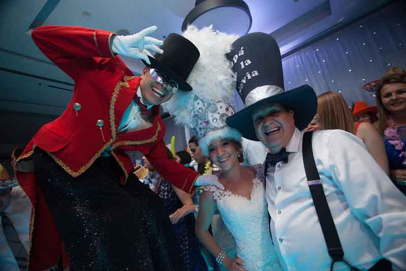 Funny hats and props for wedding reception