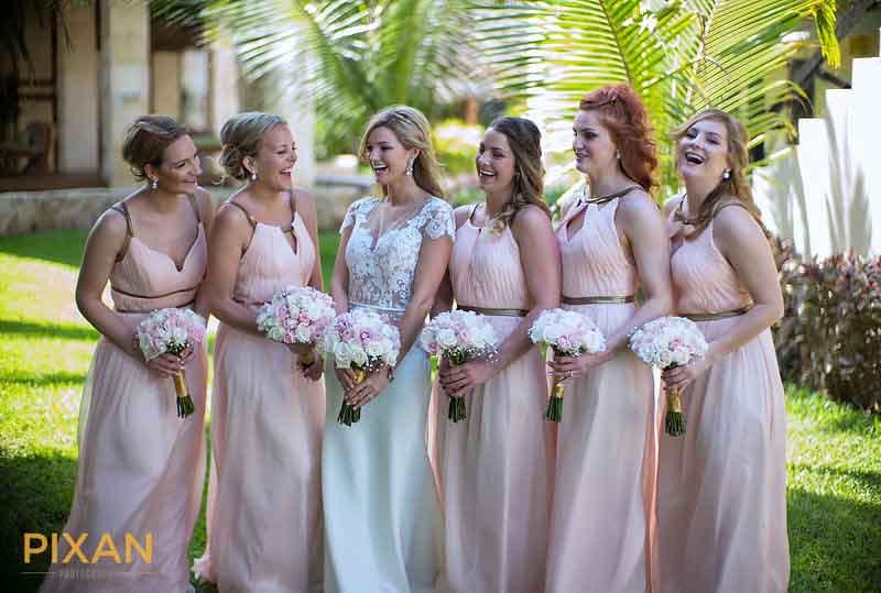 Mexico destination wedding Pantone 2016 rose quartz bridesmaid dresses
