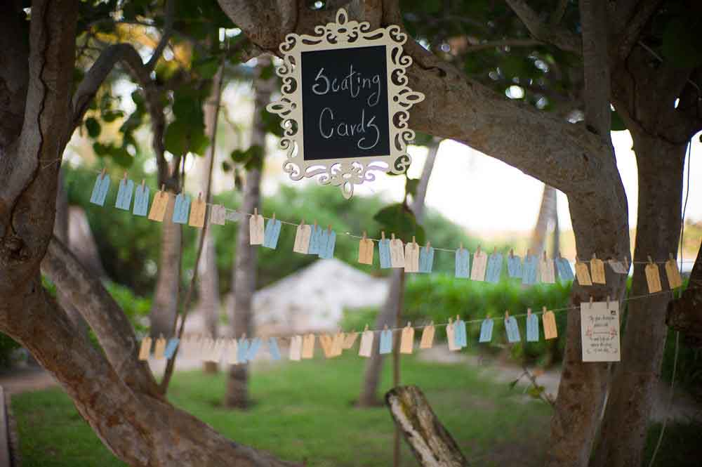 Outdoor summer wedding seating card ideas