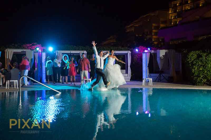 Trash the dress resort pool photo