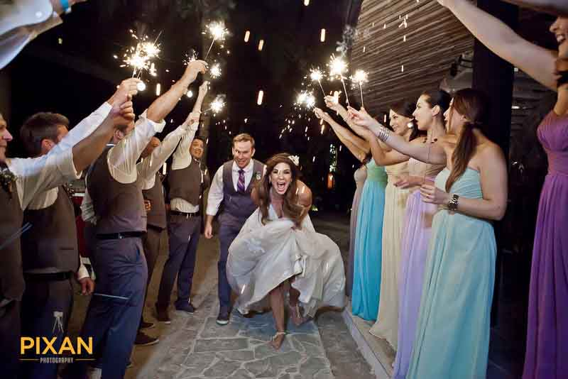 sparkling wedding party exit
