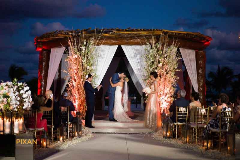 stunning decor at this sunset wedding ceremony