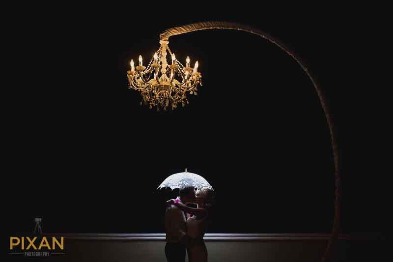 overhead lighting and umbrella