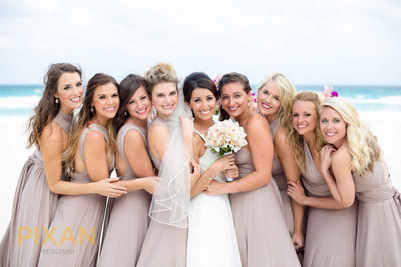 Beach wedding Pantone 2016 rose quartz bridesmaid dresses