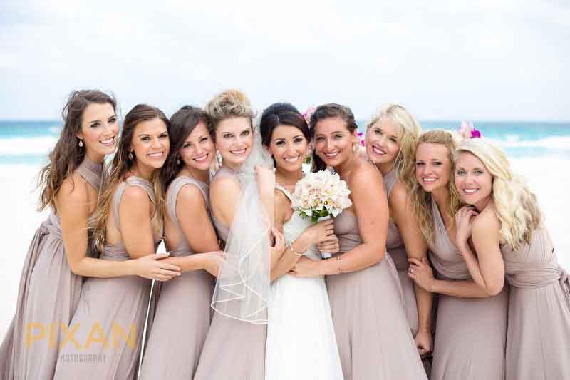 Beach wedding Pantone 2016 rose quartz bridesmaid dresses