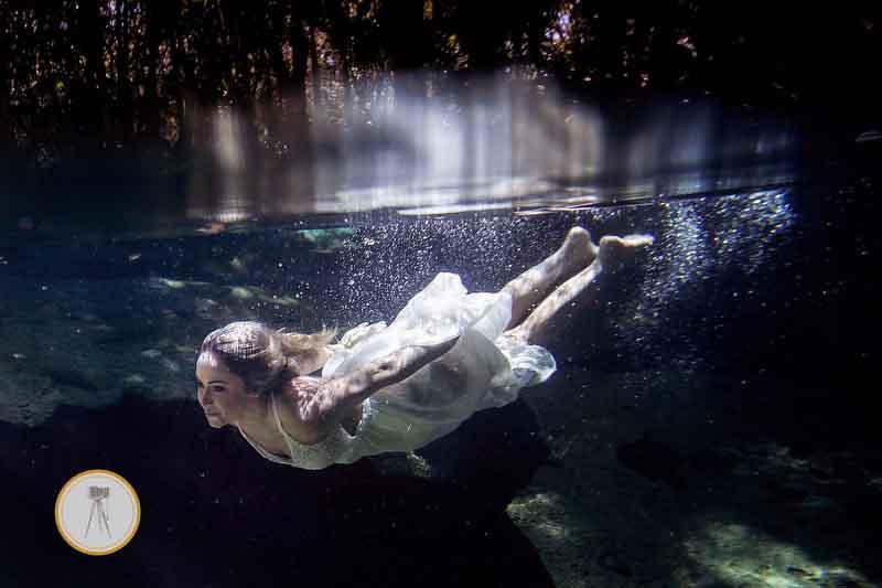 underwater bride riviera maya cenote