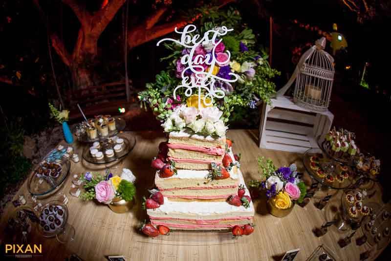 Gorgeous strawberry summer wedding cake