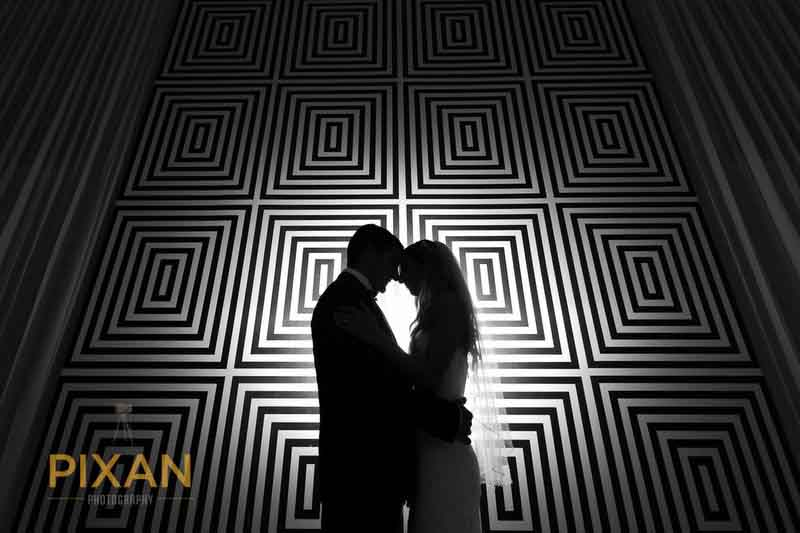 wedding couple black and white with patterned background