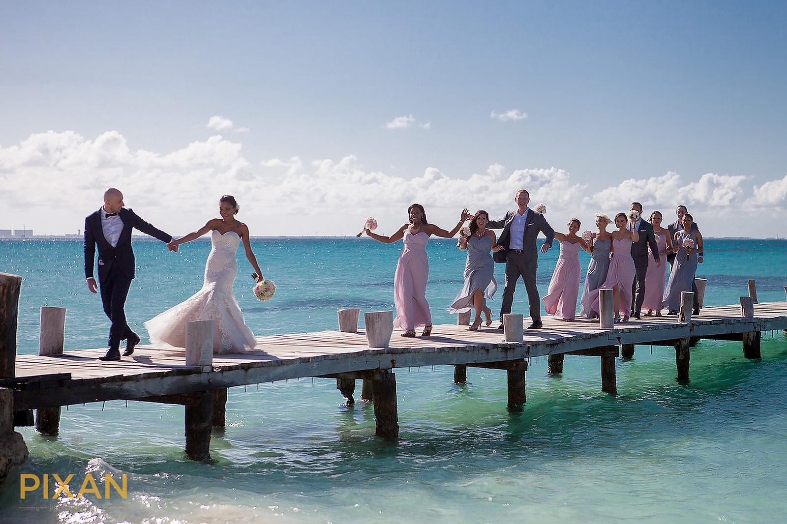 Hyatt Ziva Cancun wedding bridal party
