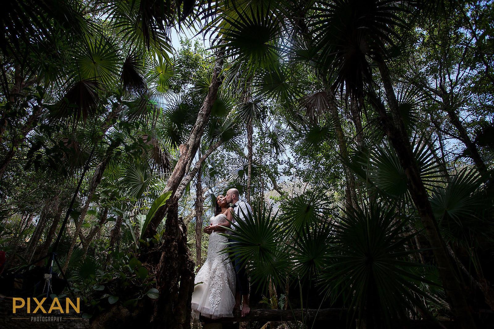 Hyatt Ziva Cancun trash the dress jungle picture