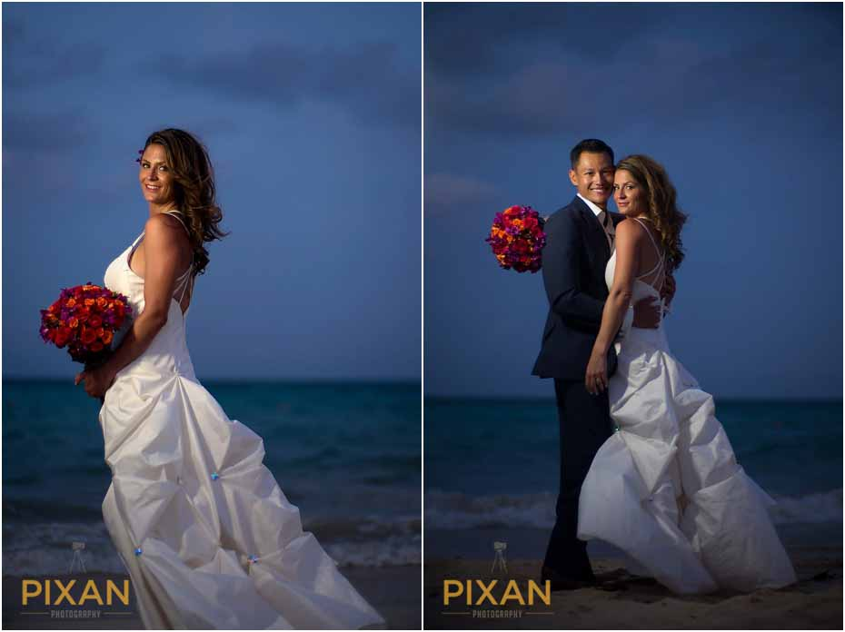 Sunset beach wedding photos Paradisus Playa del Carmen