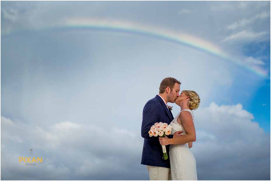 rainbow pictures at tulum beach wedding