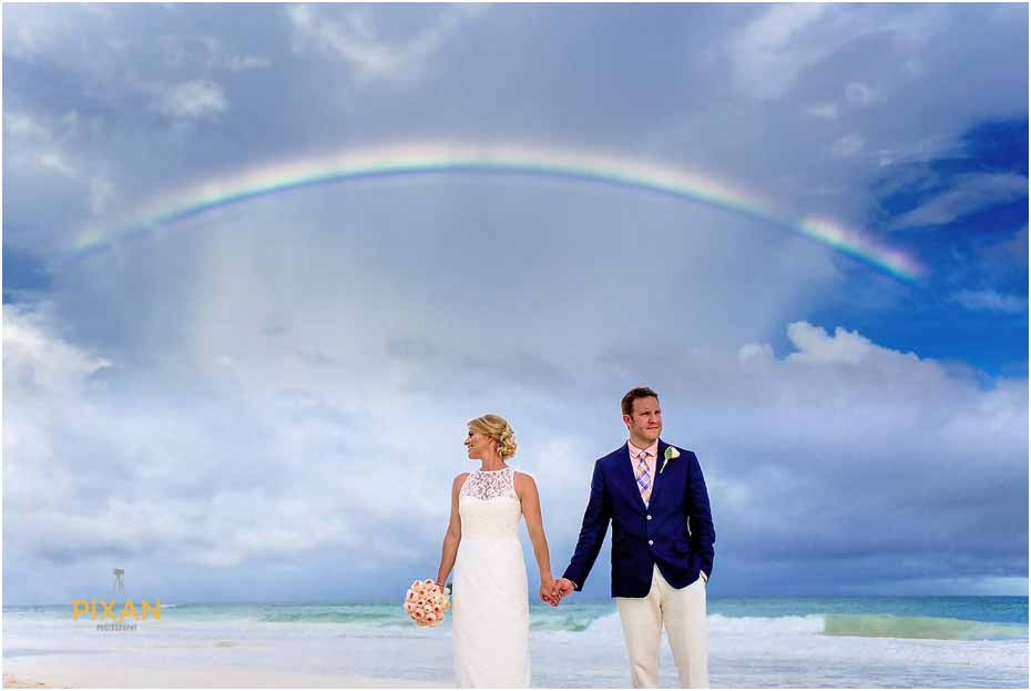picture of a rainbow at mexico wedding