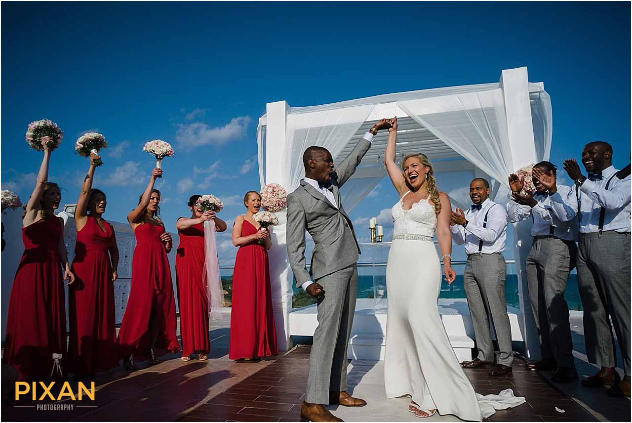 Just married at the Sky Terrace at Azul Fives