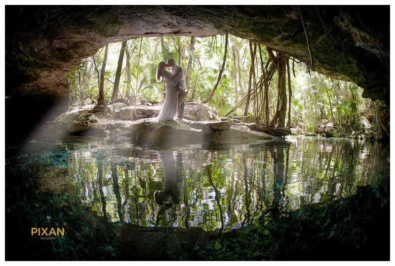 Cenote water wedding photo shoot Riviera Maya