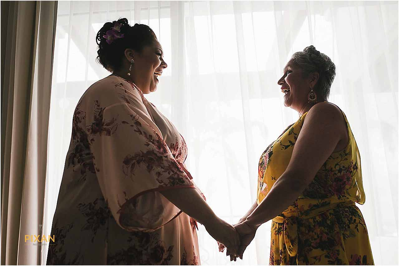 Mother-daughter photos Hyatt Zilara beach wedding