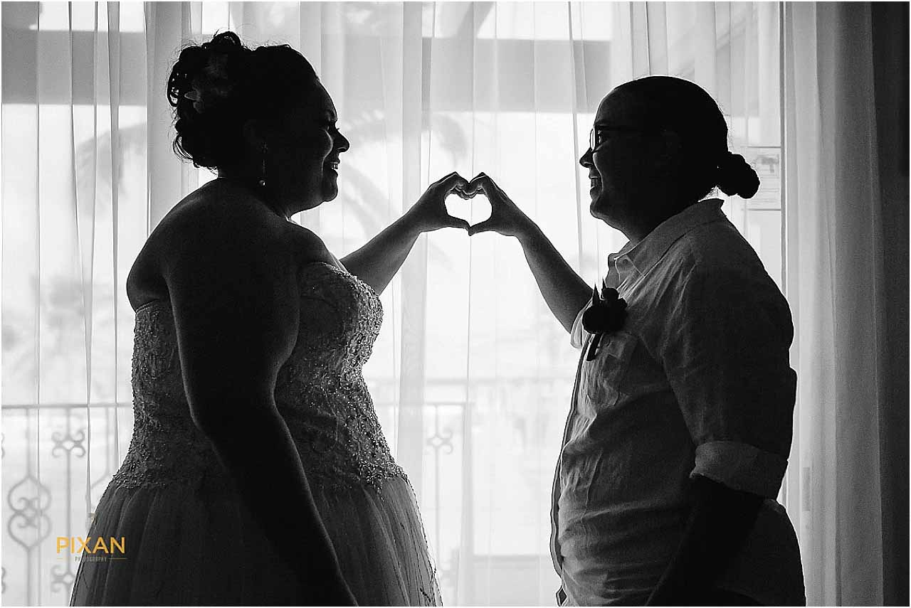 Brides couple portraits Hyatt Zilara beach wedding in Cancun