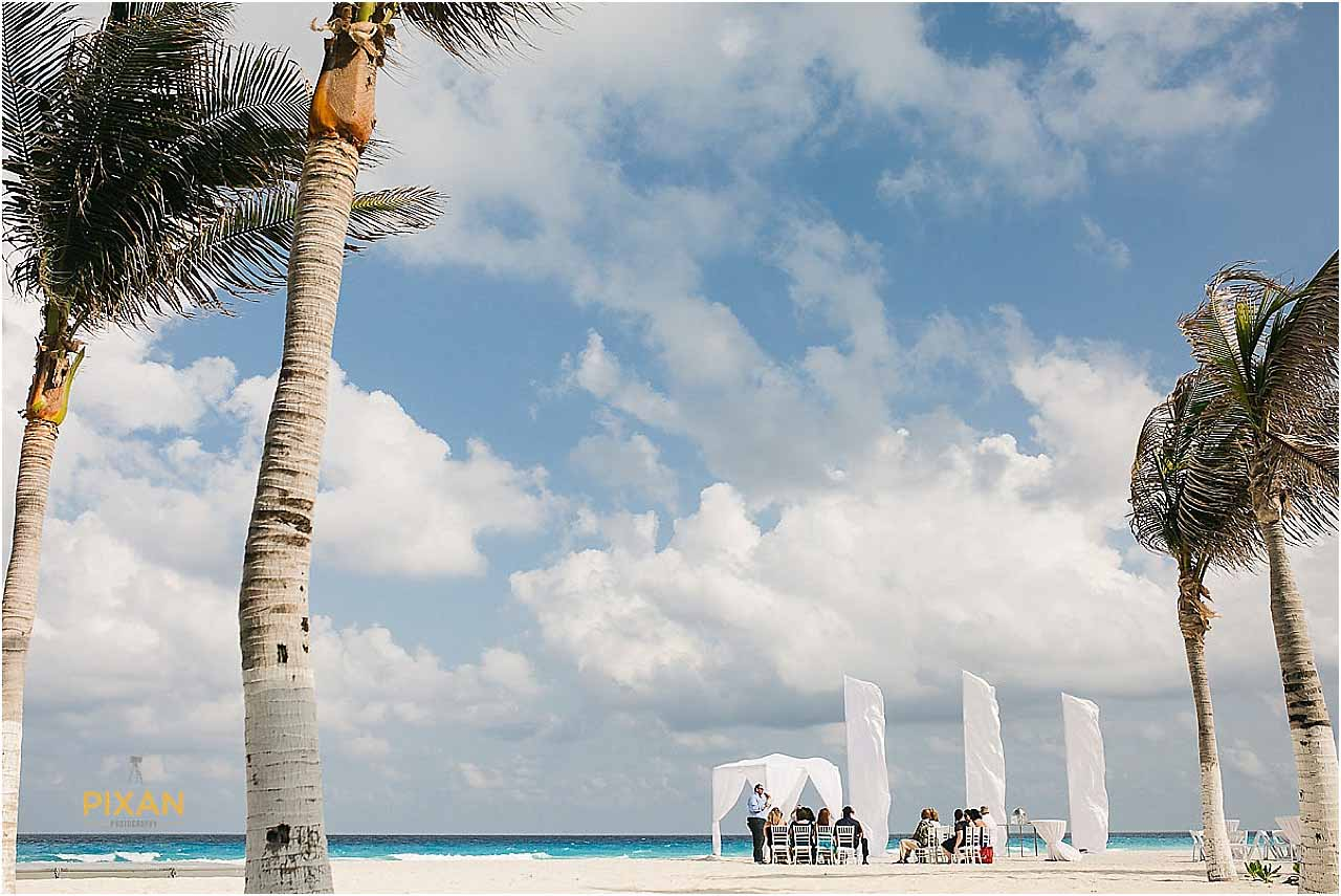 Cancun Beach wedding ceremony at the Hyatt Zilara