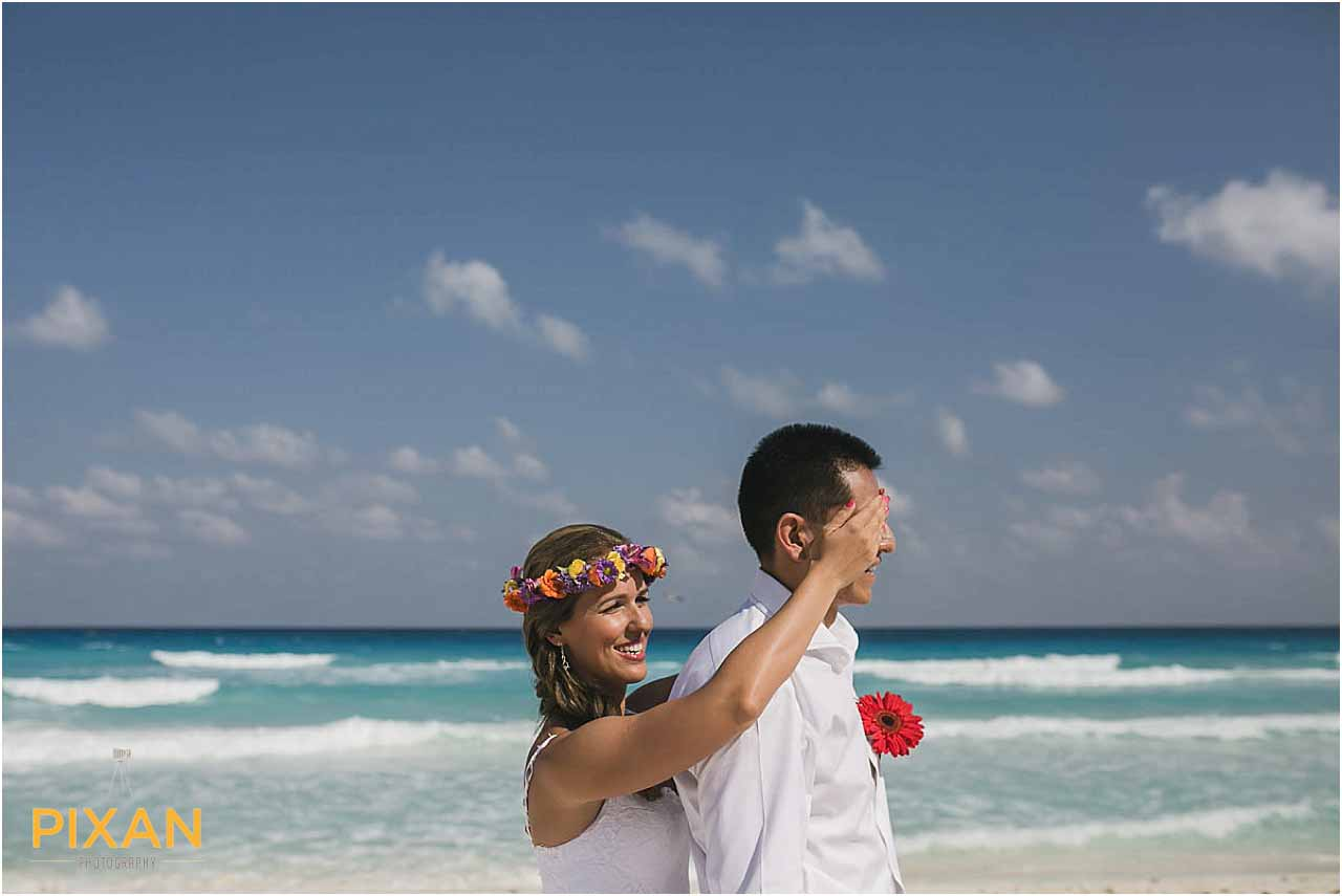 First look photos Hyatt Zilara Cancun wedding