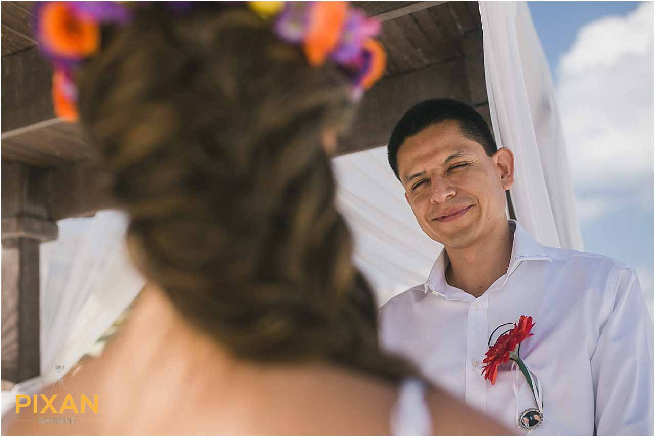 Wedding ceremony vows at Hyatt Zilara Cancun