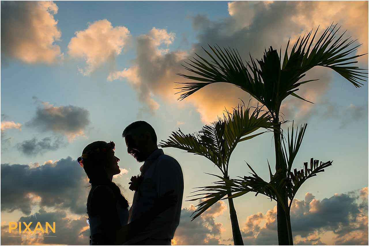 Sunset photos for Hyatt Zilara Cancun beach wedding