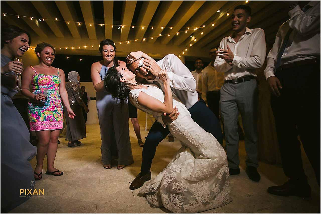 hyatt ziva cancun wedding party bride and groom dancing
