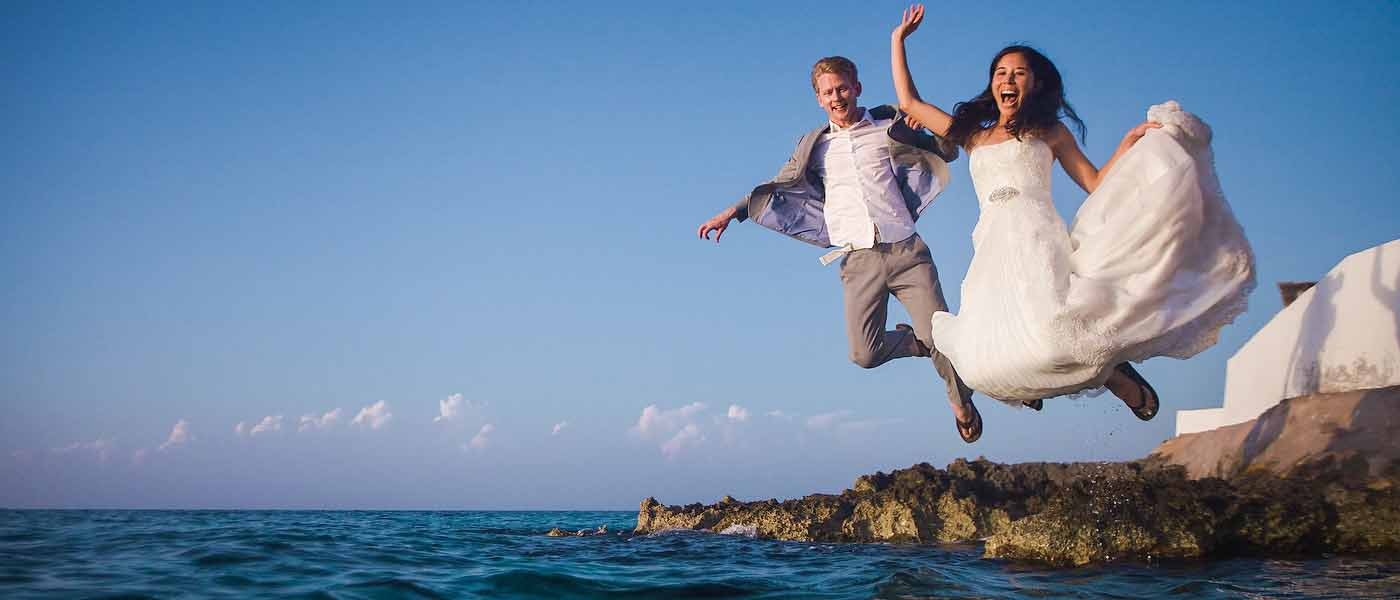 cozumel trash the dress sunset leap