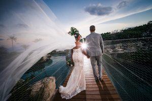 Hotel-Xcaret-Wedding-swing-bridge-bridal-portrait