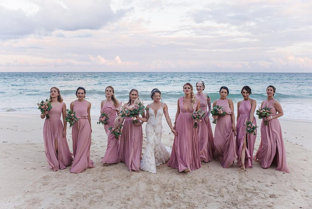 the bridesmades having fun