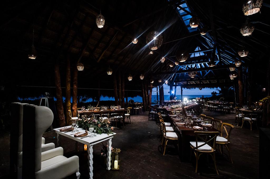 the wedding reception setup at papaya playa project tulum
