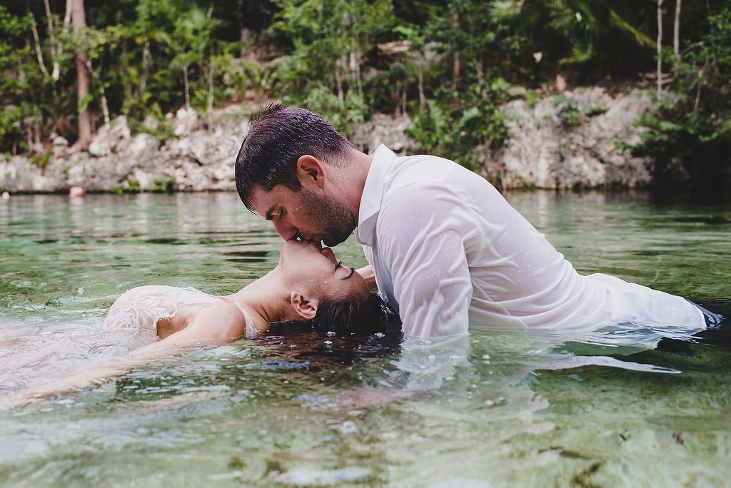 Reverse Kiss Tulum Cenote Trash The Dress