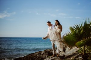 Mexican Caribbean Wedding couple
