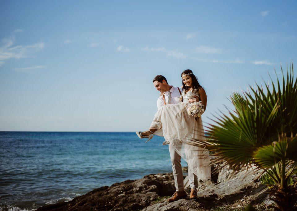 Mexican Caribbean Wedding couple