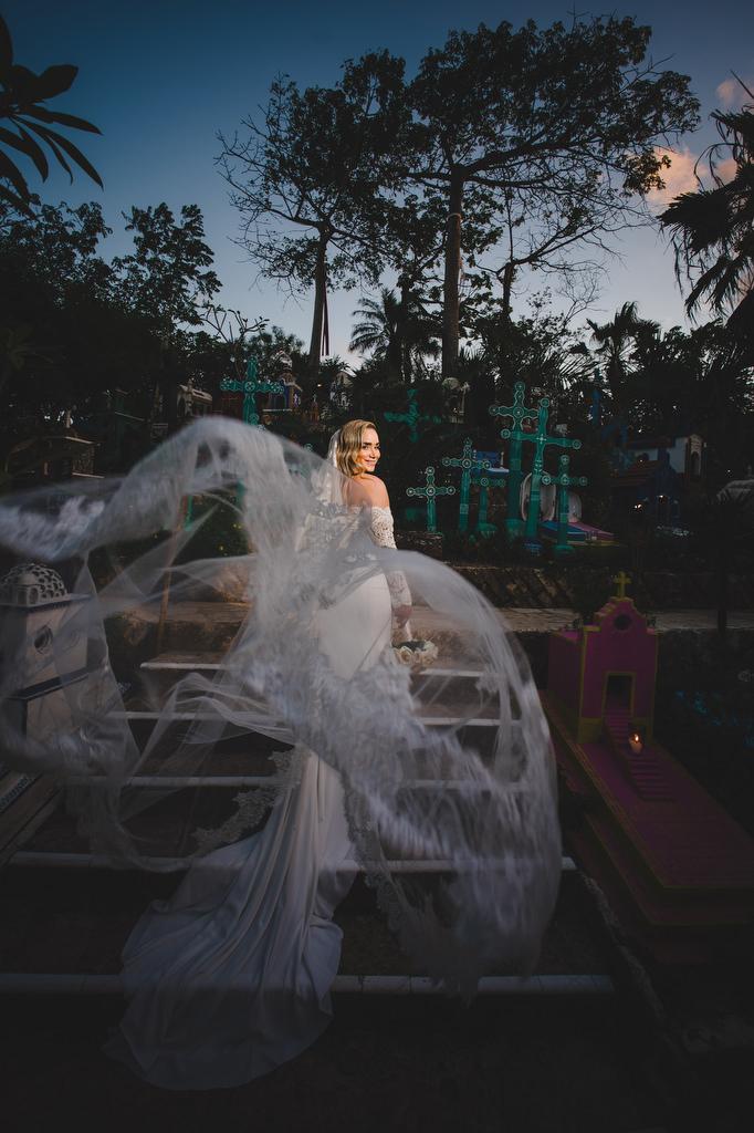 Mysterious brides portrait Xcaret park