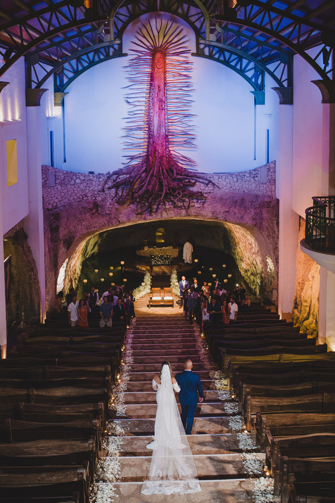 Chapel Guadalupe Xcaret bride walking down the aisle