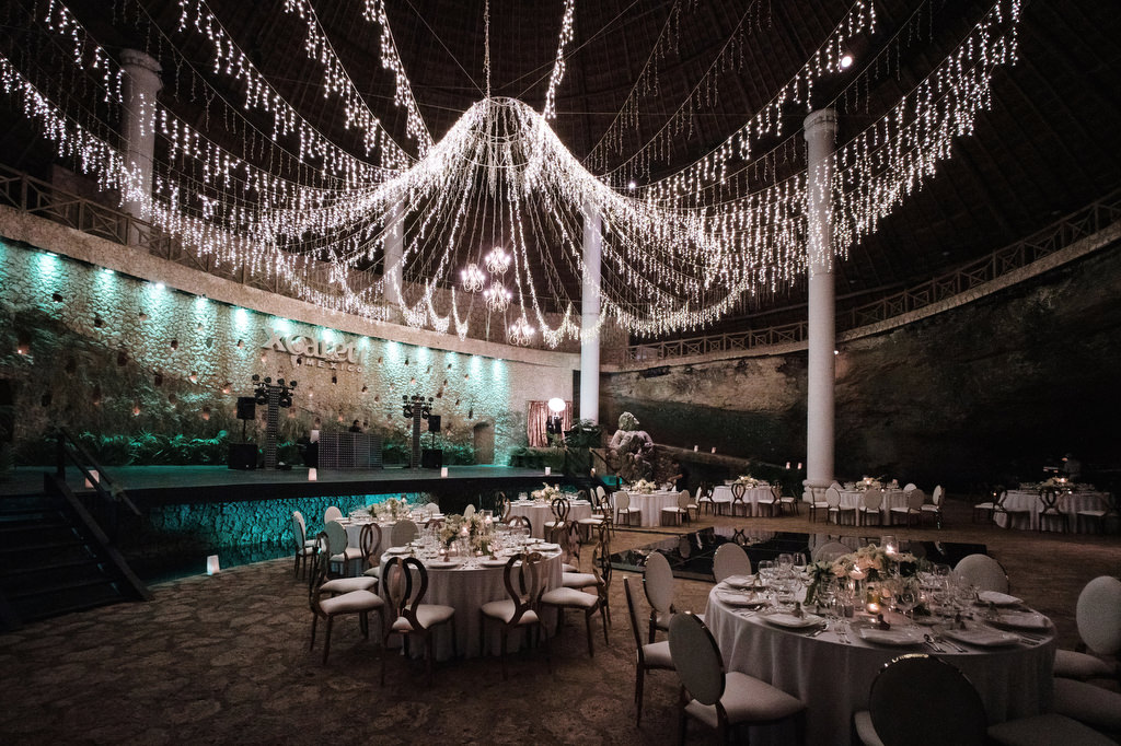 La Isla Xcaret Reception decor tables and chandelier