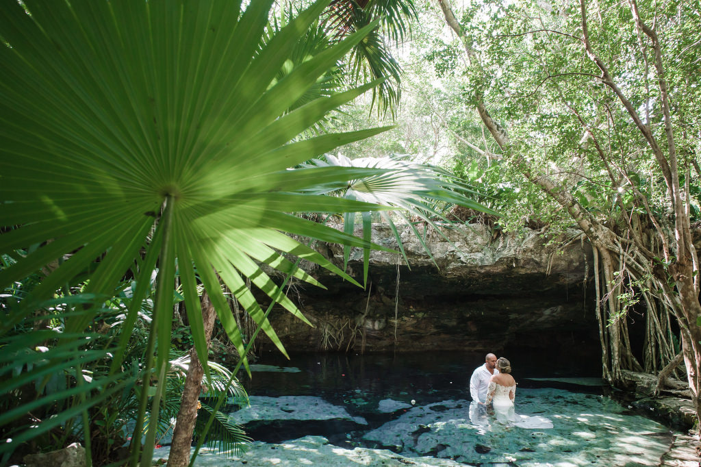 Trash The Dress Cenote couples water portrait